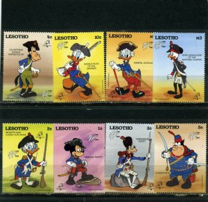 LESOTHO 1989 WALT DISNEY PHILEXFRANCE'89 SET OF 8 STAMPS MNH