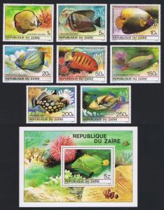 Zaire Tropical Fish 8v+MS SG#1017-MS1025 SC#974-981A