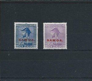 SAMOA 1926-27 2s LIGHT BLUE & 3s PALE MAUVE MM SG 169/170 CAT £66