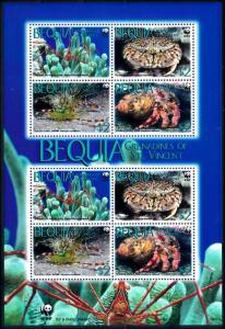 [66839] Bequia St. Vincent 2010 Marine Life Crab Shrimp WWF Sheet MNH