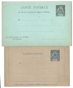 Mayotte 1892 10c+10c black on green reply card & 15c blue on grey lettercard fin