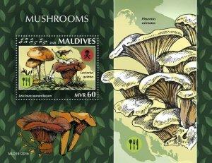Maldives Mushrooms Stamps 2020 MNH Fungi Boletus Leccinum Nature 1v S/S