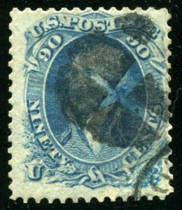 Scott # 72, 90 cent blue Washington, Catalog Value $600