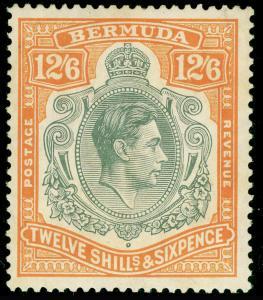 BERMUDA SG120a, 12s 6d grey & brownish orange, LH MINT. Cat £225.