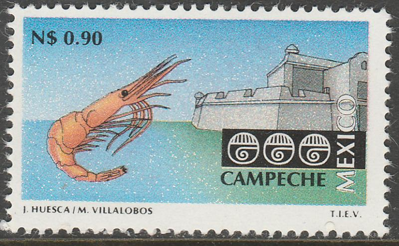 MEXICO 1782 N$0.90 Tourism Campeche, shrimp, fortress. Mint, Never Hinged F-VF.