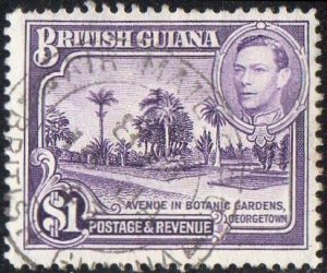 British Guiana 1938 $1 Botanical Gardens used