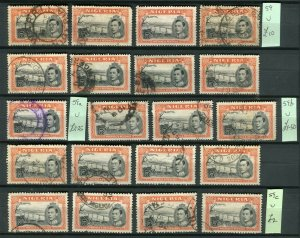 NIGERIA; 1938 early GVI issue fine used GROUP of 5s. values various Perfs
