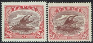 PAPUA 1916 LAKATOI 2/6 BOTH SHADES