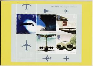 Great Britain. 2002 Airliners. PHQ Cards(6) Unused