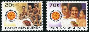 Papua New Guinea Scott 733-34 MNHOG - 1990 National Census Set - SCV $3.10