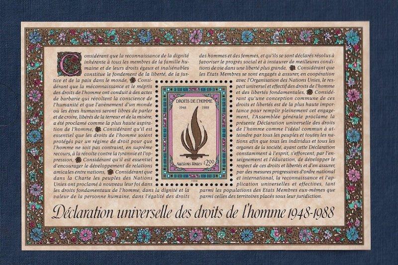United Nations Geneva #172  MNH  1988  sheet declaration human rights