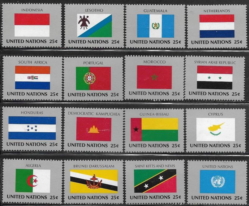 United Nations 1989 New York Flags of the Member Nations SC# 554-569 MNH