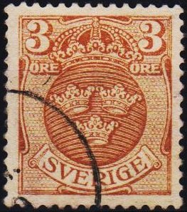 Sweden. 1910 3ore S.G.67 Fine Used