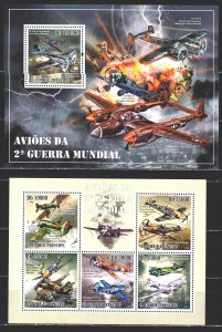 Sao Tome and Principe. 2010. 4321-25, bl744. Military aircraft. MNH.