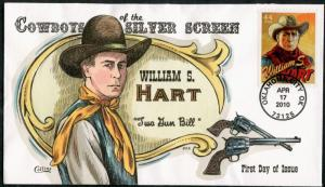 #4446-49 COWBOYS OF THE SILVER SCREEN 4 DIFF COLLINS H.PAINTED FDC CHT BP7341