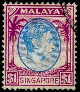 SINGAPORE SG13, $1 blue & purple, FINE USED.