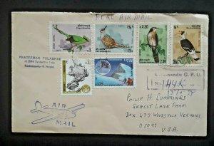 Kathmandu Nepal To Woodstock Vermont Multi Franked Registered Airmail Cover