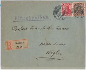 56272  - GERMANY -  POSTAL HISTORY: Michel 71 + 76  on REGISTERED  COVER  1904
