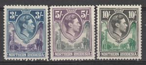 NORTHERN RHODESIA 1938 KGVI GIRAFFE AND ELEPHANT 3/- 5/- AND 10/-