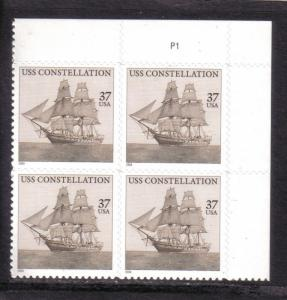 3869 USS. Constellation Plate Block Mint/nh Free Shipping