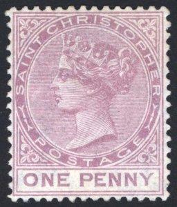 St Christopher 1882 1d Magenta Perf 14 Wmk CA SG 12 Sc 10 LMM/MLH Cat £550($748)