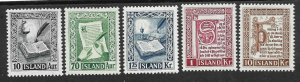 Doyle's_Stamps: Iceland 1953  Set Scott #278* to #282*  (L4)