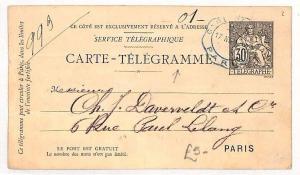 FRANCE TELEGRAPHS Stationery Card Paris *Carte Telegramme* Telegram 1935 BF87