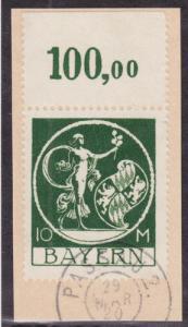 Bavaria Sc 253 used 1920 10m green Genius, Sheet Margin w/ 100,00 Marking VF+