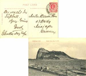 Gibraltar 1d KEVII 1910 Gibraltar, 25 PPC (Rock from the N.W.) to Meiningen, ...