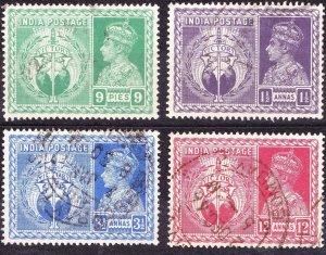 INDIA 1946Victory Set 9p/1.5a/3.5a & 12a SG 278-281FU