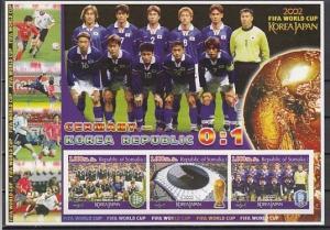 Somalia, 2002 Cinderella issue. World Cup Soccer, IMPF sheet. German Team shown.
