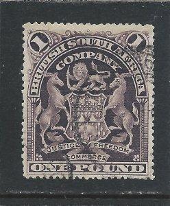 RHODESIA 1898-1908 £1 GREYISH RED-PURPLE FU SG 90 CAT £170