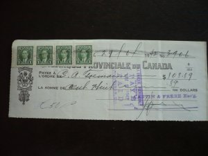 Canada - Revenue - KGVI Mufti Issue Stamps on cheque dated 1942