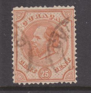 CURACAO, 1881 perf. 13 1/2, 25c. Orange Brown, used.