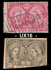SALE CANADA 1897 QUEEN VICTORIA 3c #53, 1c  #UX16 CUT SQUARE POSTAL STATIONERY
