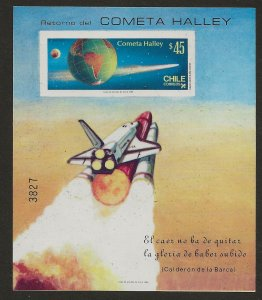 Chile MNH Sc# 702A. Souvenir Sheet with scarce imperforate stamp Halley's Comet