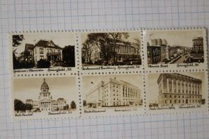 miniature stamp Photo film paper Springfield IL Buildings tourist Bureau block 6