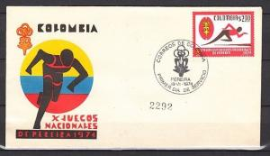 Colombia, Scott cat. 821. National Games issue on a First day cover.
