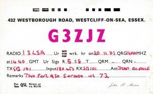 7029 Amateur Radio QSL Card  WESTCLIFF-ON SEA ENGLAND
