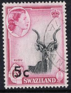 Swaziland  #74  1961  used  5c on 6 ct  surcharge