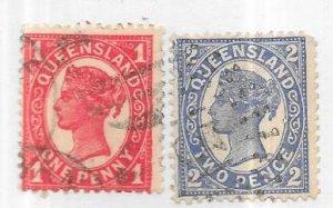 Australia-Queensland  #113-114    1p &2p Queen Victoria (U) CV $8.10