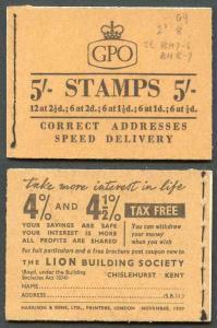 H31 November 1957 5/- Booklet 1 1/2d is G7 no dot