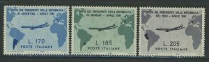 Italy 1961 Gronchi Flight to South America set Sc# 832-34 NH