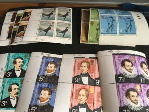 Gt. Britain #689-700 Mint VF-NH 1973 3 Cpl. Sets in Corner Blocks of Four Each!!