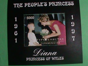 TURKMENISTAN STAMP- 1997-PRINCESS OF WALES- DIANA WITH HANGING FLOWER KID-MINT-