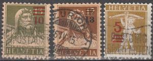 Switzerland #188, 194, 196  F-VF Used CV $7.65 (C4989)