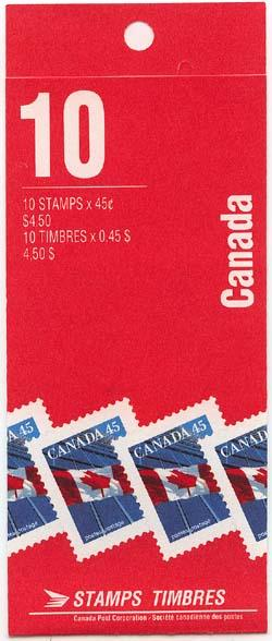 Canada USC #BK177b 1995 45c Pane of Ten in Leigh-Mardon Booklet