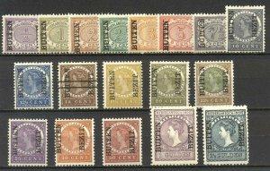 NETHERLANDS INDIES #63-80 Mint - 1908 Overprints