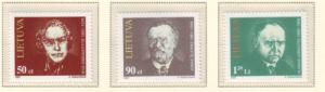 Lithuania Sc 560-2 1997 Famous Lithuanians stamp set mint NH