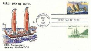 2080 20c HAWAII STATEHOOD - 1st D.M./Bear hand painted cachet - Capt. Cook combo